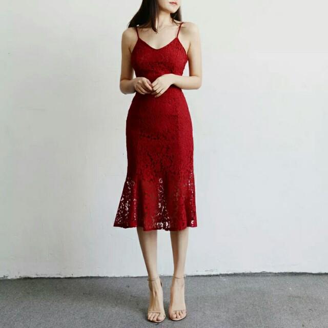 [Beststyler] chinese new year HIGH QUALITY women sleeveless lace dress / mermaid lace dress long dress