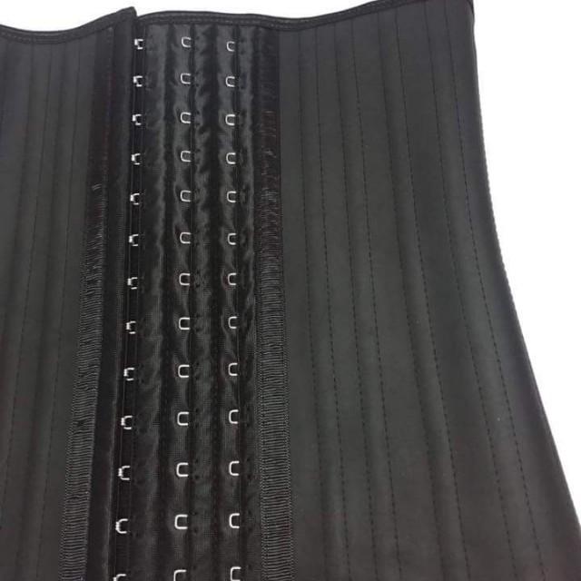 BLACK 25 STEEL BONED CORSET LATEX WAIST TRAINING CORSET