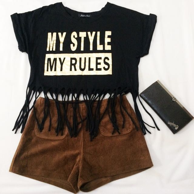 black gold crop top