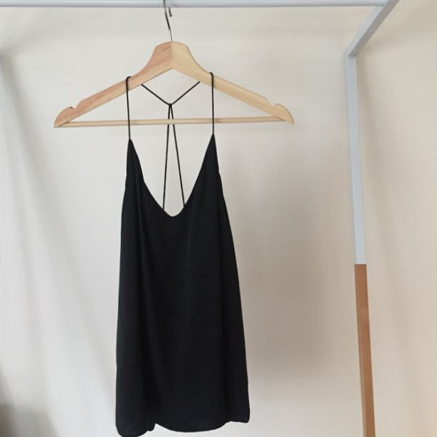 Black Silk Strappy Tank Top by Witchery