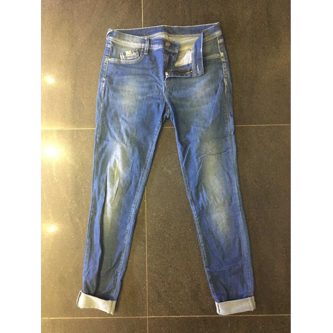 Blue stretchy denim jeans