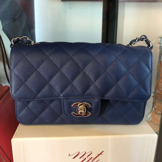 08aa5d5518e 🔥BNIB Chanel mini rectangular in blue caviar, Luxury, Bags   Wallets on  Carousell