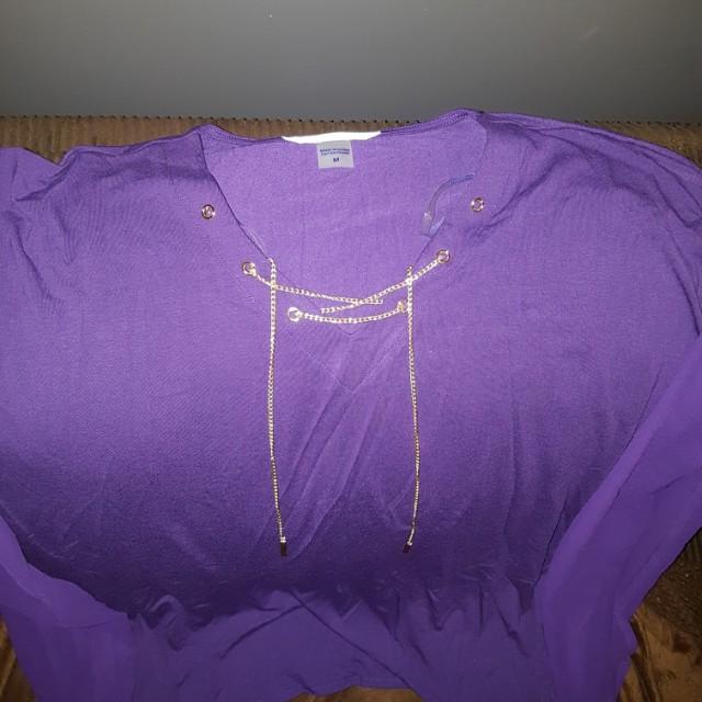 Brand New. Beautiful purple dress shirt with gold chain