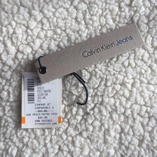 Calvin Klein Jeans Fuzzy Silver Sweater - Size S