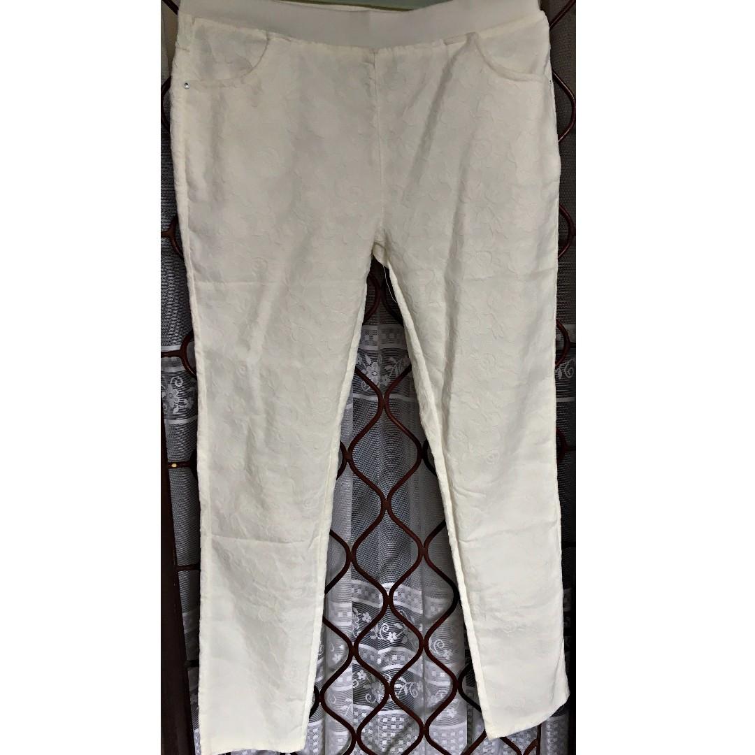 Celana Strech Bordir Putih