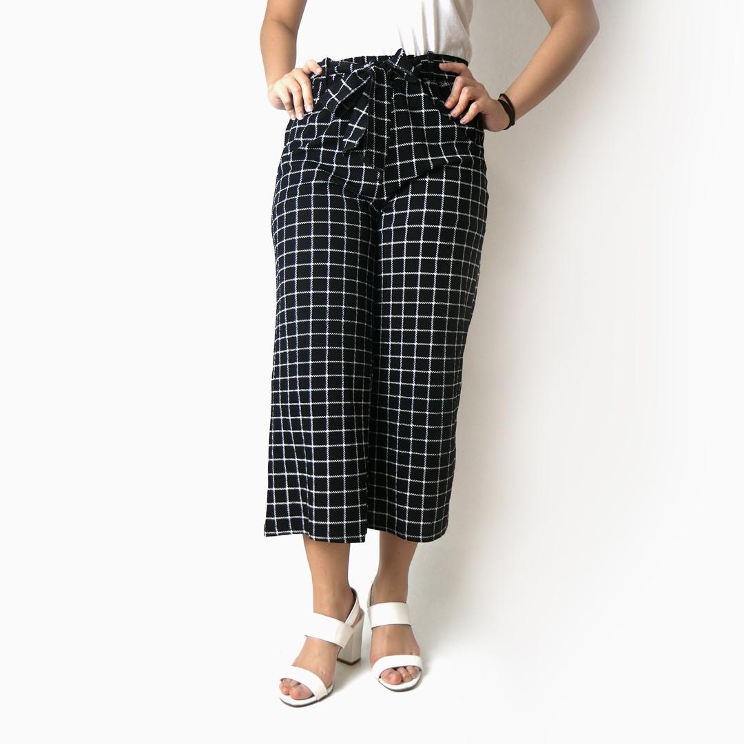 Checkered Tie Top Culottes