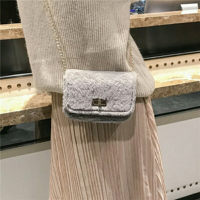 Chic fluffy cute small sling bag