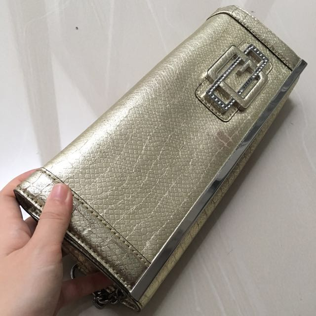 Clutch GUESS GOLD HAndbag pesta Emas GUESS Original