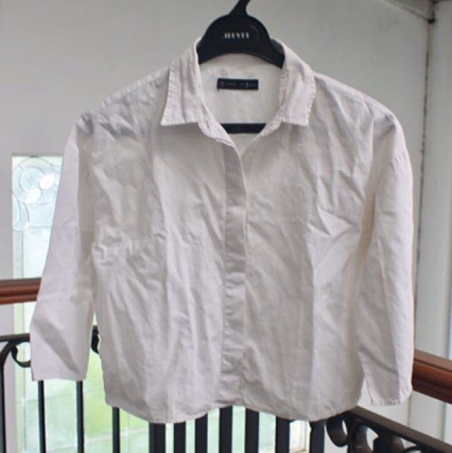 Cropped White Crisp Shirt