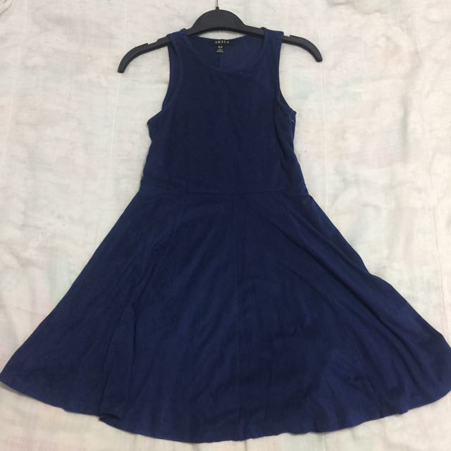 Dark Navy Blue Suede Dress