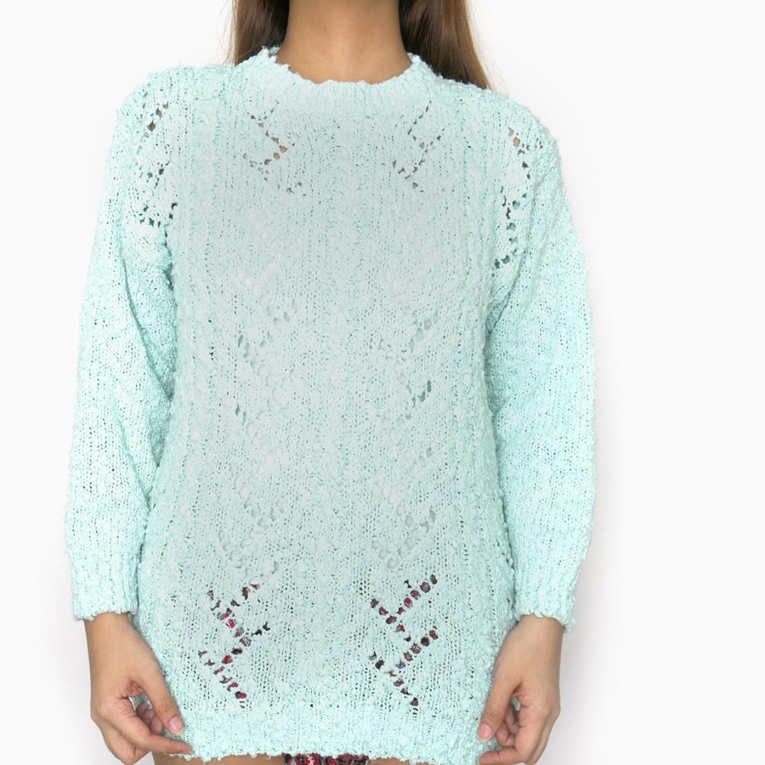 Debenhams UK Mint Blue Knit Longsleeves Oversized Pullover Sweater Top