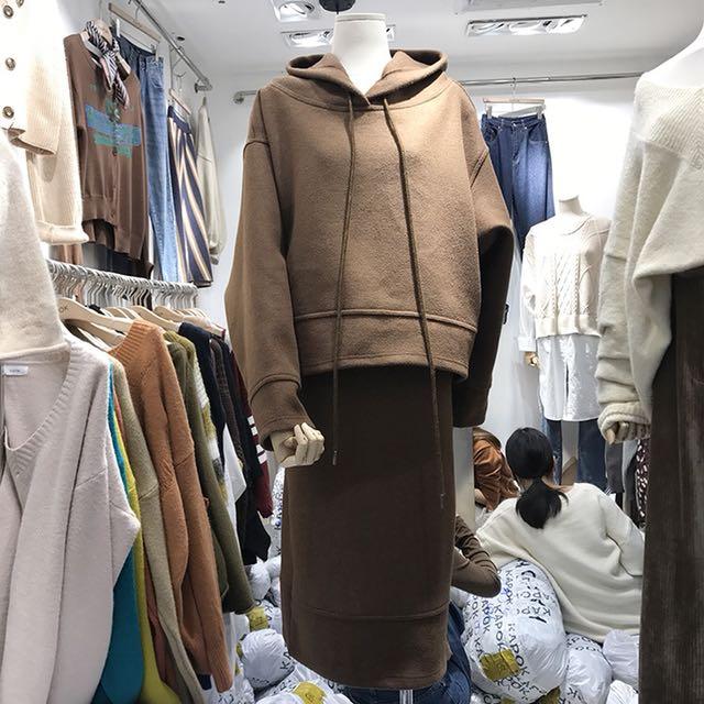 Dec.iwhere 休閒 素色 帽T+裙子 套裝 韓風