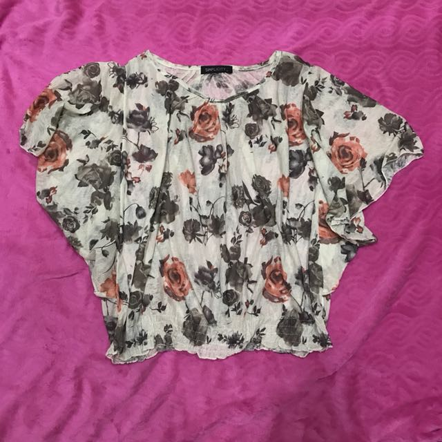 FLOWER BATWINGED BLOUSE