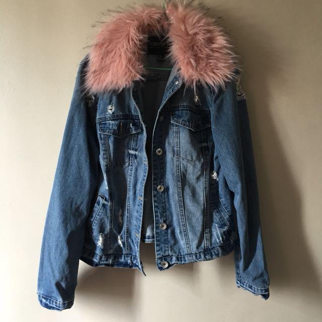 Forever 21 Faux Fur Collar Denim Jacket
