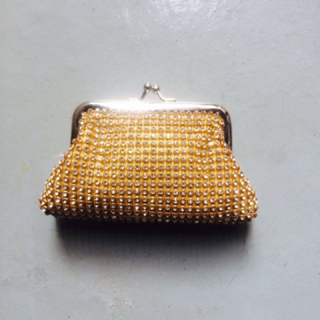 Gold crystal rhinestone purse