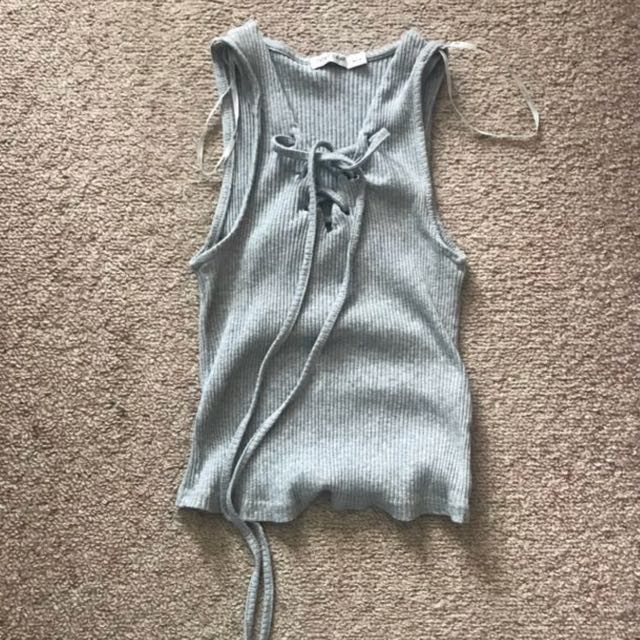 Grey lace up ribbed singlet