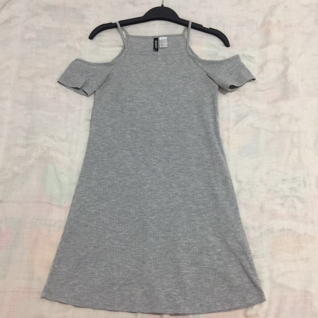 Grey Shoulder Cut Out Dress