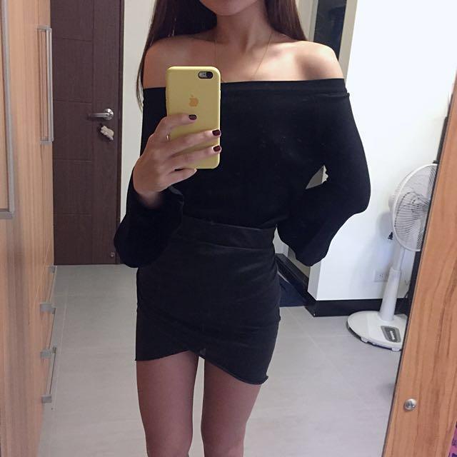 H&M 前交叉棉短裙