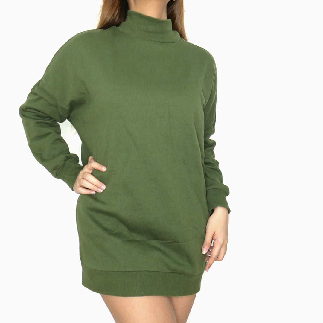 H&M Divided Navy Green Oversized Turtleneck Longsleeves Pullover Sweater Jacket