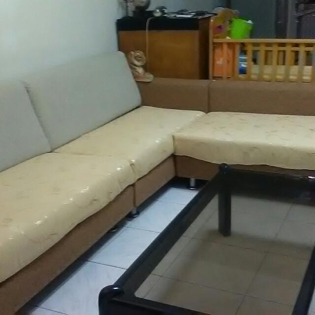 亞麻織品L 型沙發組