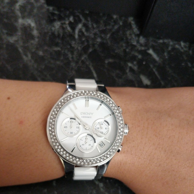 Ladies DKNY White Ceramic Chronograph Watch