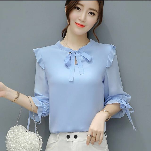f51de2689916dd Light Blue Chiffon Blouse, Women's Fashion, Clothes, Tops on Carousell