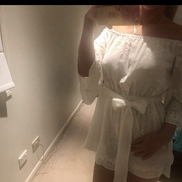Loving things playsuit romper  pure white