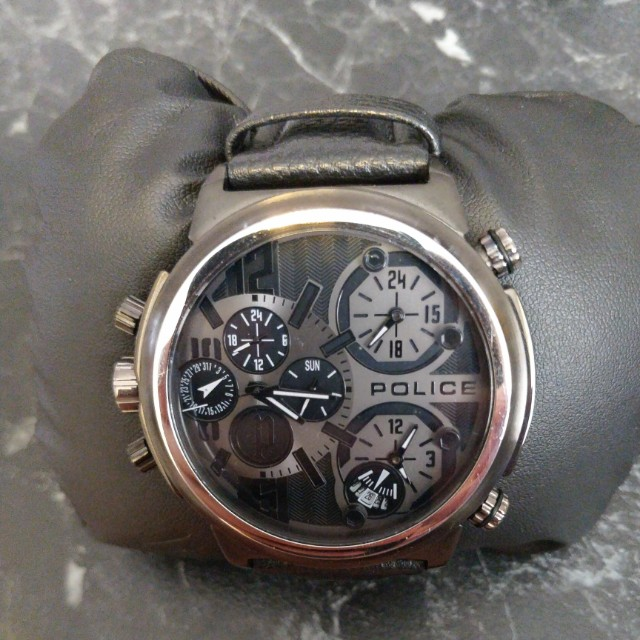 Mens Police Leather Chronograph Watch