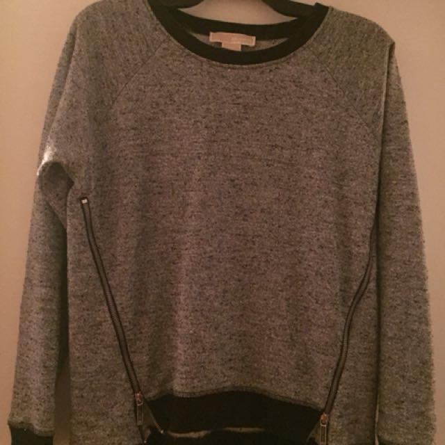Michael Kors Grey/ silver zipper sweater