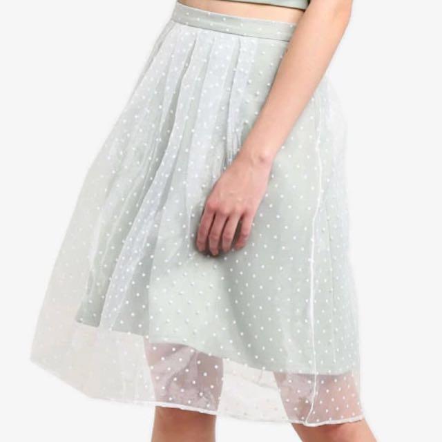 Miss selfridge light green and white polka dot skirt