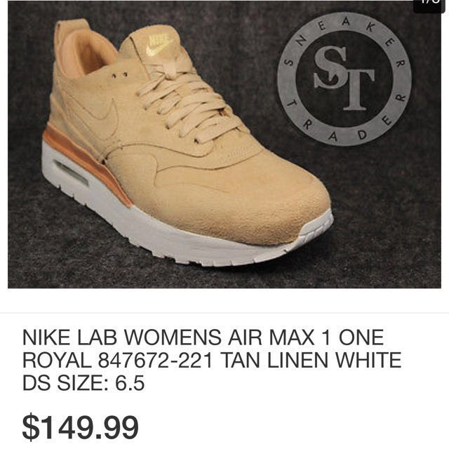 New NIKE LAB WOMENS AIR MAX 1 ONE ROYAL 847672-221 TAN LINEN WHITE DS