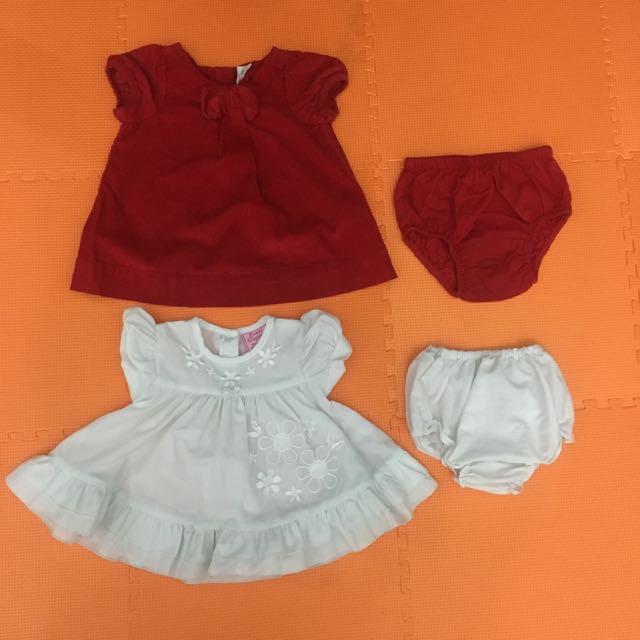 Newborn dress red & white