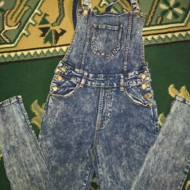 Overall jeans washed turun harga