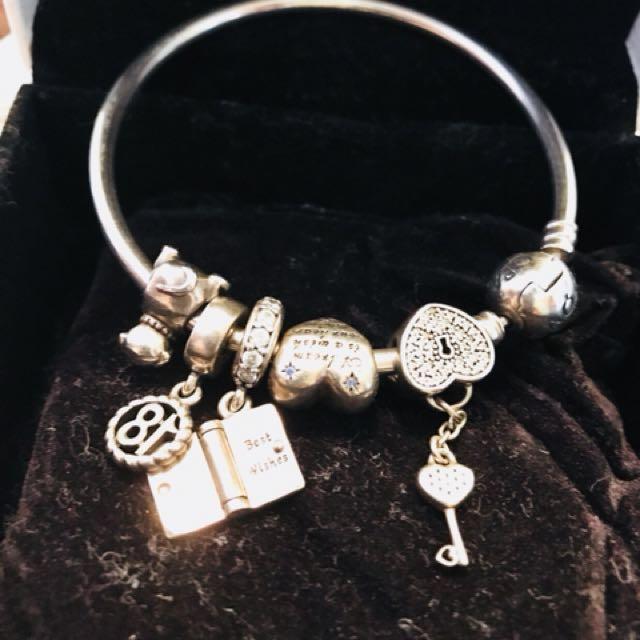 Pandora bangle plus 5 charms