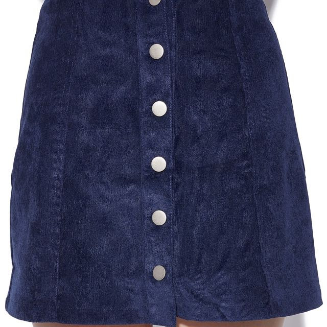 PARE BASIC Shelby Skirt Navy Cord