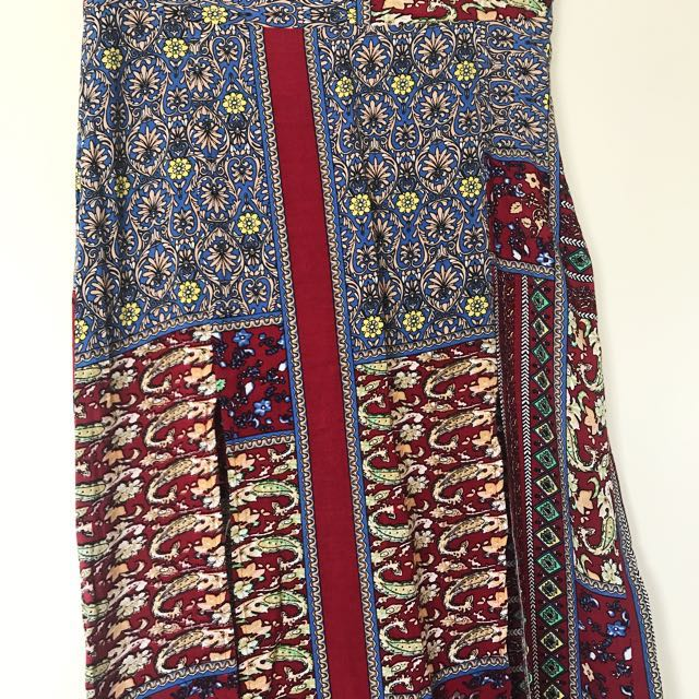 Patterned Maxi Skirt with Slits