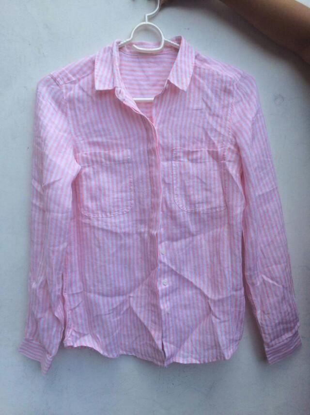 Peach Stripes Polo shirt