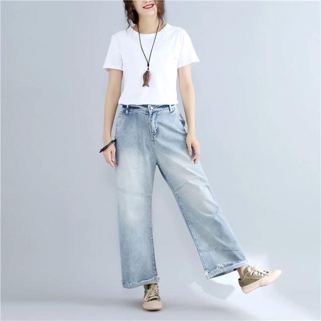 afde1cfbb8a Plus Size Autumn Women s leisure pants Korean version of the loose wide-leg  flare jeans