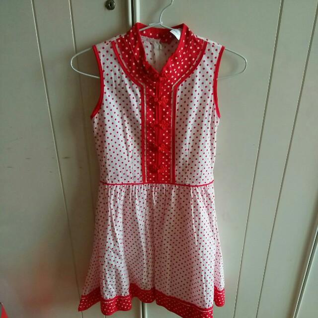 Polka dot Oriental Button Dress