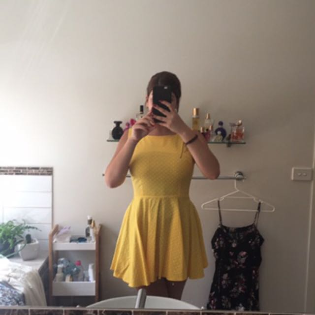 Polka dot yellow dress