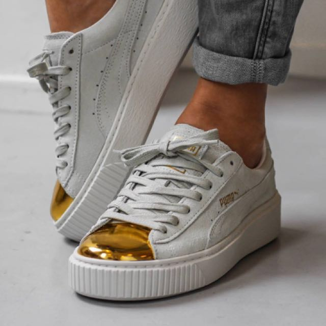 Puma suede platform gold, Women's Fashion, Shoes on Carousell