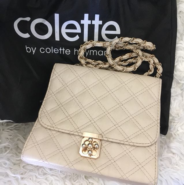 Quilted cream Colette Hayman bag