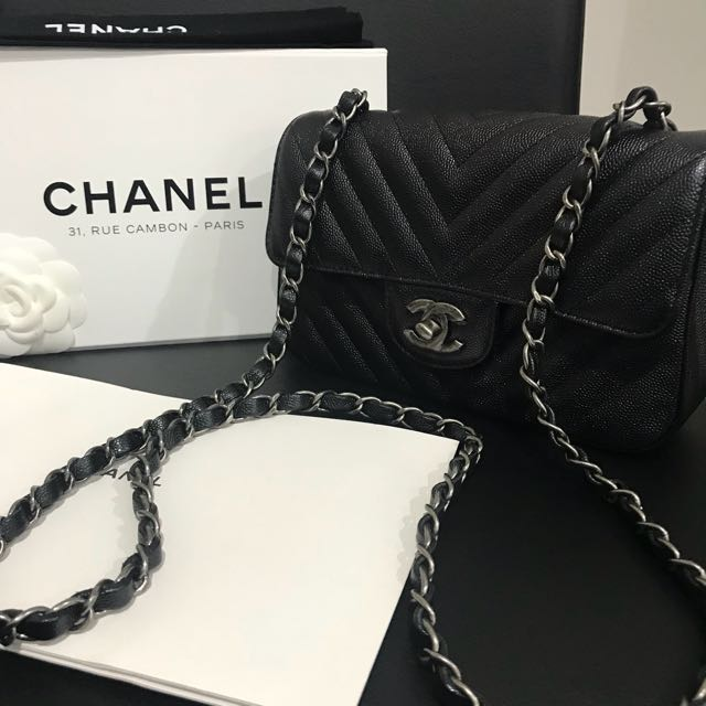 281536e2ebd1 Rare chanel 17 B mini rectangular flap in black iridescent chevron/caviar  with ruthenium HW. NEW!, Luxury, Bags & Wallets on Carousell