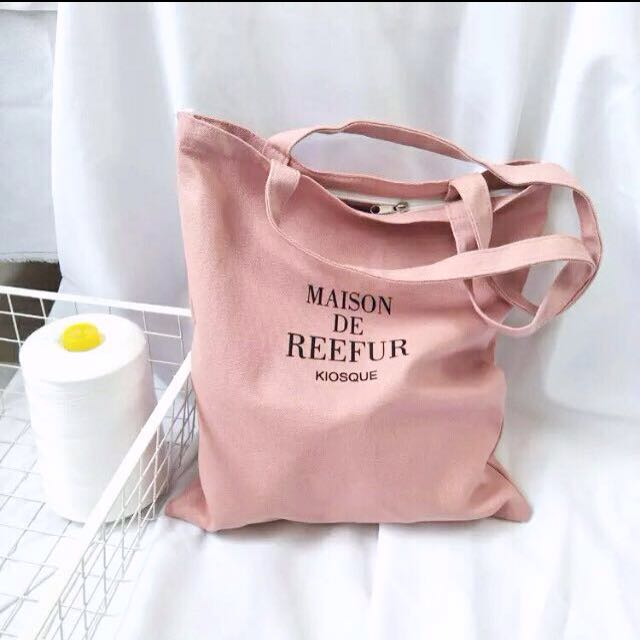 READYSTOCK Pink Canvas Tote Bag