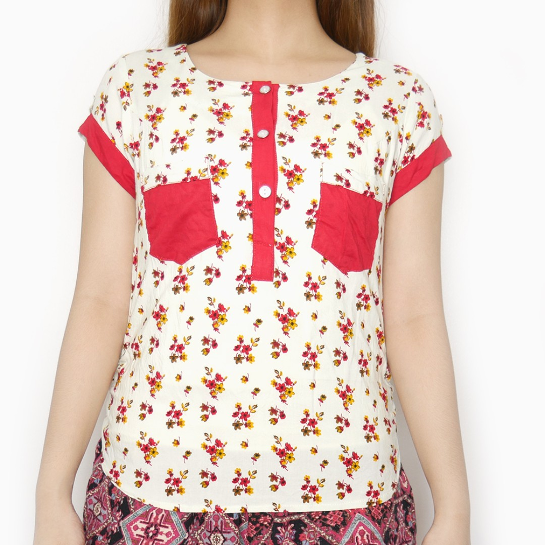 Red Pockets Floral Top
