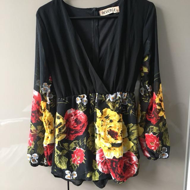 Reverse Floral Playsuit (S)