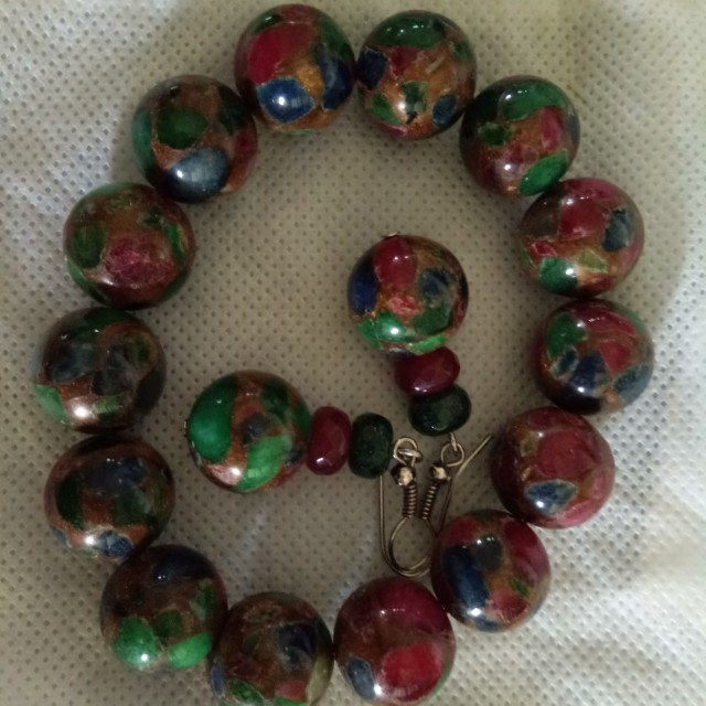 Sale!Ruby with assorted gemstines Bracelet and earrings
