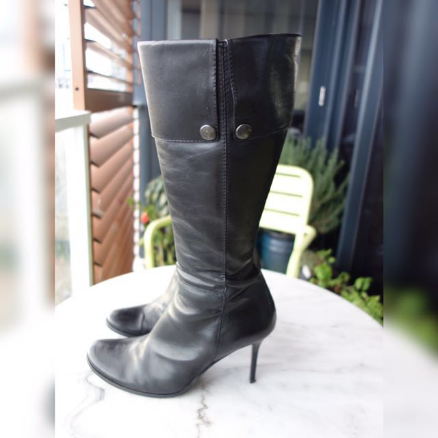 Simon Bay Italian Leather Boots - Black, Size 39 - 40, EXCELLENT CONDITION