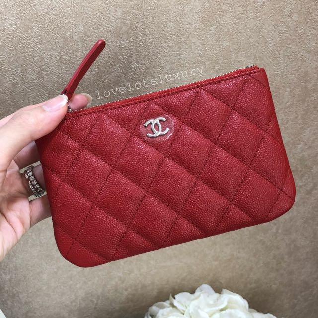 a995253ace95 SOLD) ♥ Brand New Chanel 18C Caviar Mini O Case Pouch in Red ...