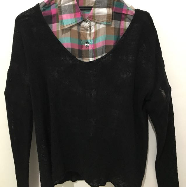 Sweater jaring2 hitam